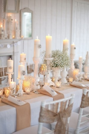 Burlap and Crystal for understated elegance