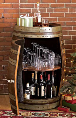 Wine Barrel with Hidden Bar storage