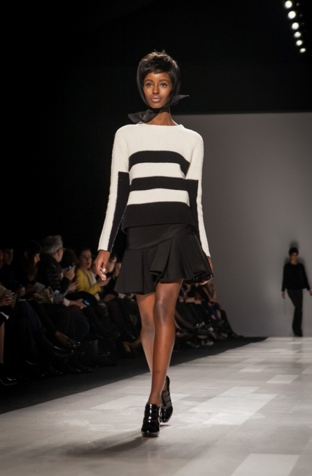 The Joe Fresh Show was presented almost all in black and white - I am loving this striped sweater and pleated skirt