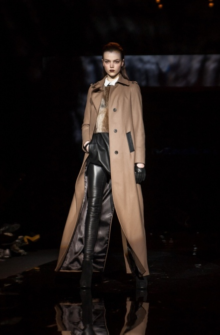 Mackage brings some drama with this floor grazing coat - love the camel with black leather accents