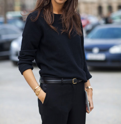Black on Black in various textures is the perfect go to on mornings when you can't decide what to wear