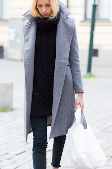 Big cowl necks and a classic grey long coat look chic always