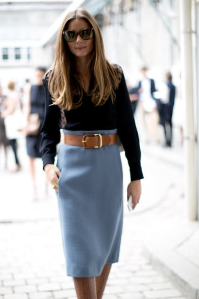 A high waisted, light colour wool skirt would work amazingly well with any blouse in your closet