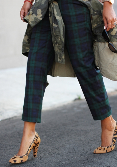 Plaid, leopard and camo mix is unexpected but fun
